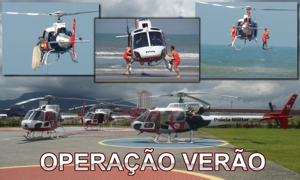 As três aeronaves que atuarão no litoral sul de São Paulo, sediadas na Base de Radiopatrulha Aérea da Praia Grande. No litoral norte trão mais dois helicópteros.