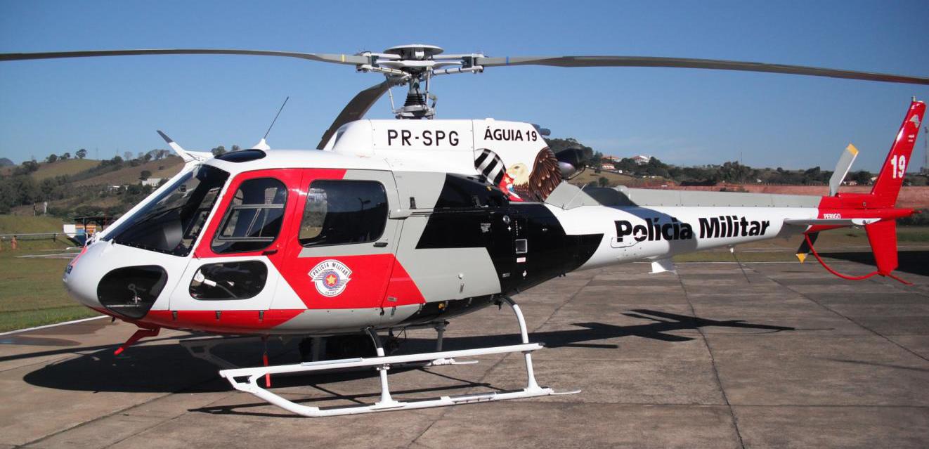 Águia 19, da Polícia Militar do Estado de São Paulo; AS 350 (Foto via PilotoPolicial.com.br)