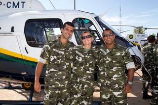 Cap PM Lima Junior, Cap PM Jussara e Cap PM Silva Neto, todos pilotos de helicóptero do CIOPAER/MT