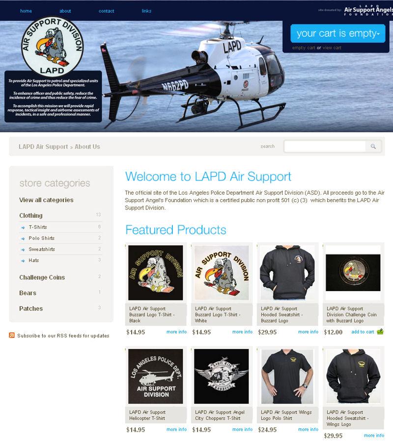 Loja online da Unidade Aérea do Departamento de Polícia de Los Angeles