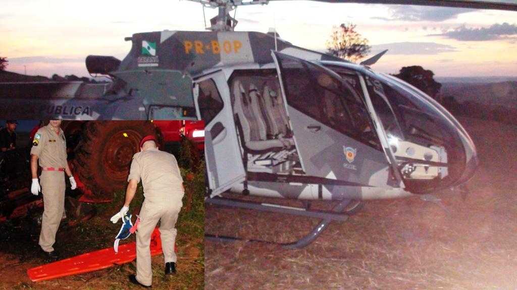 A aeronave EUROCOPTER EC130 B4, PR-BOP (Falcao 4), procedeu ao resgate do ferido.