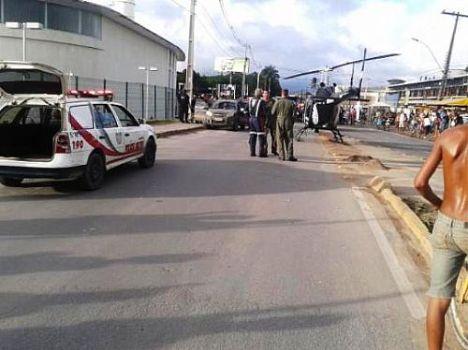 Helicóptero do Bope pousou na Avenida principal do Benedito Bentes