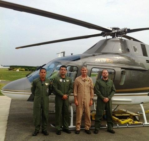 Tenente Coronel HOFMANN, Major PM RICARDO MENDES e o delegado Andre GANGA da Policia Civil e instrutor da Agusta