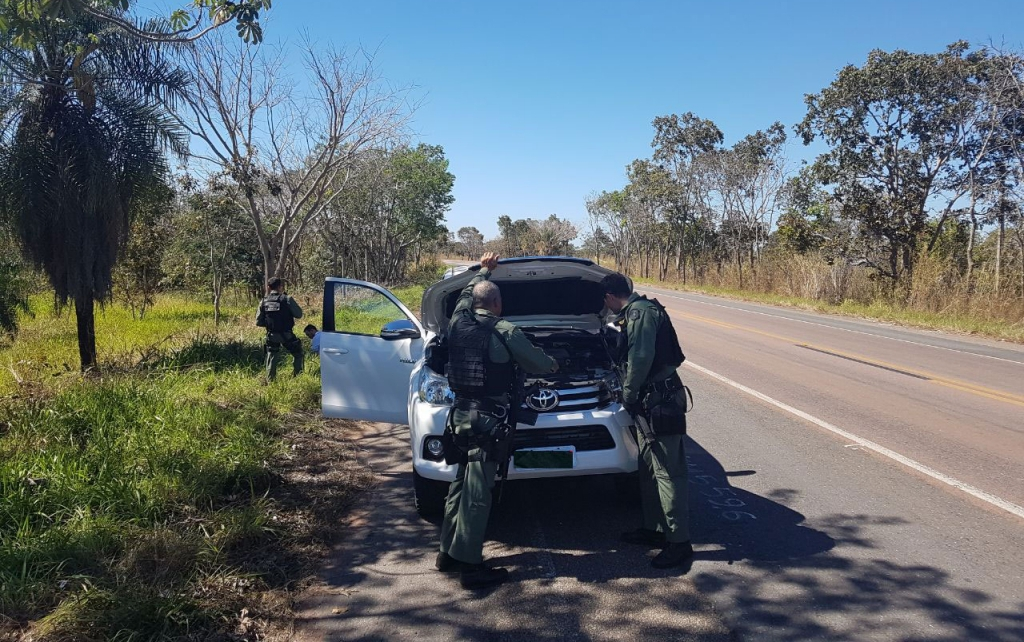 Ciopaer recupera Hilux roubada após perseguição em rodovia de MT. Foto: Divulgação CIOPAer.