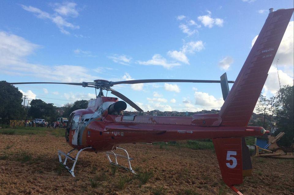 Jovem de 16 anos teve o braço amputado no acidente, em Porto Calvo (Foto: / Grupamento aéreo)