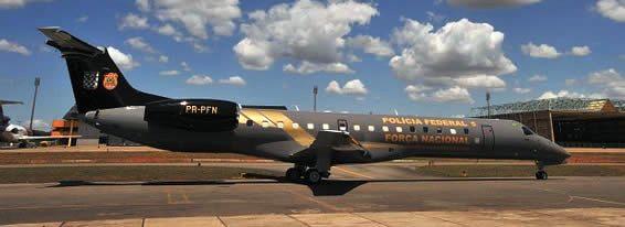 Aeronave Embraer EMB-145XR, cuja compra foi resultado de um acordo de cooperação entre a Polícia Federal e Força Nacional para ampliar a capacidade aérea no âmbito do Ministério da Justiça