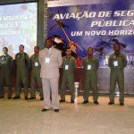 Palestra sobre Estruturação, Organização e Operacionalidade de Unidade de Aviação de Segurança Pública, palestrante Maj PMBA Lázaro Raimundo Oliveira Monteiro.