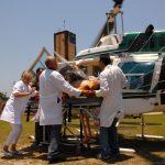 Atendimento de afogado pelo helicóptero e no CRA, Centro de Recuperação de Afogados, em Guaratuba. Foto: Arnaldo Alves / AENotícias.