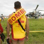treinamento do Corpo de Bombeiros, com helicóptero do Grupamento Aeropolicial - Resgate Aéreo (Graer)