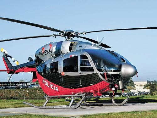 Helicóptero usado pela Polícia Civil cearense, mas adquirido pela pasta de Ciência, Tecnologia e Educação Superior, por meio de artifício que dispensou realização de licitação. Foto: TMA/Germano Cavalcanti