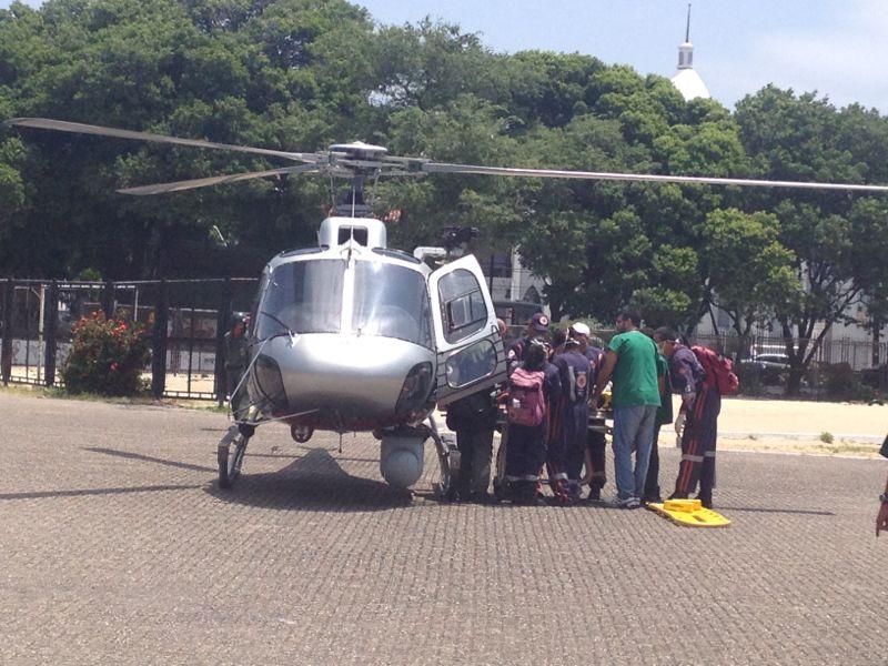 Policial foi levado ao IJF de helicóptero. Foto: Suzane Saldanha