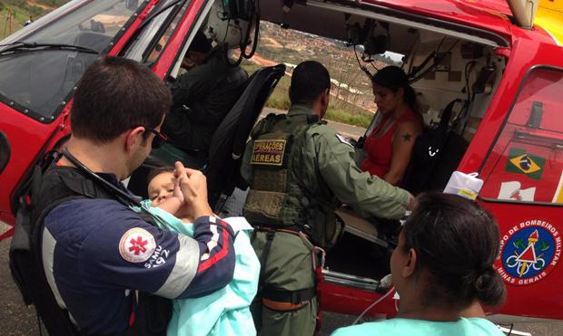 Bebê é picado por escorpião e socorrido por helicóptero dos bombeiros em MG. Foto: Thiago Miranda.