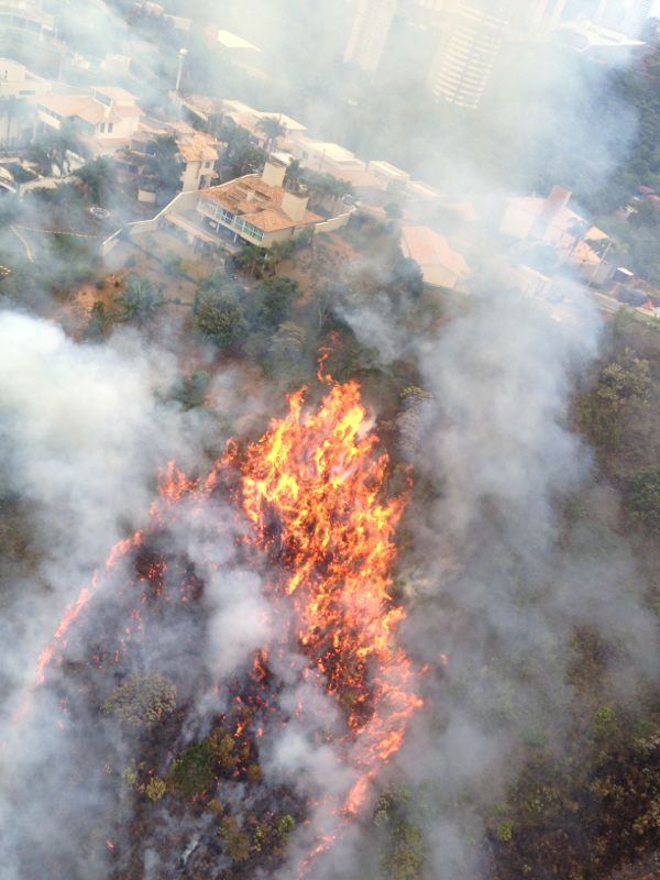 Incêndio em vegetação na cidade de Nova Lima.