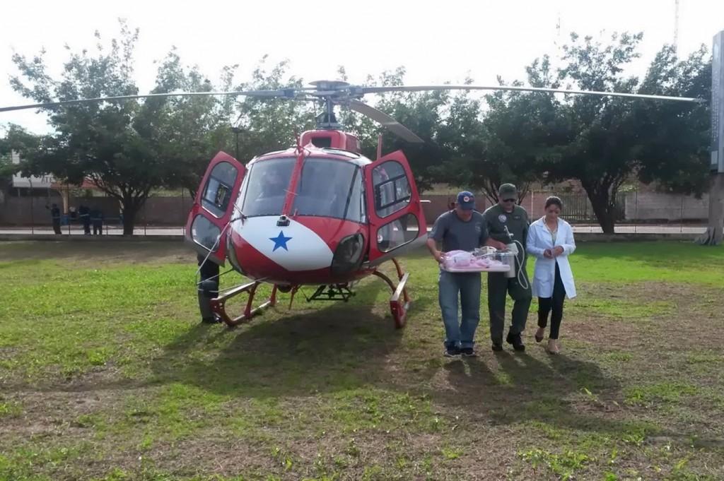O helicóptero do Grupamento Aéreo de Segurança e Saúde Pública (Graesp), Guardião 5, é fundamental para o atendimento médico em grandes distâncias.