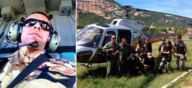 Capitão Inácio Brilhante comanda operação que conta com apoio do helicóptero da Secretaria de Segurança do Ceará (Foto: Inácio Brilhante/PM do RN)