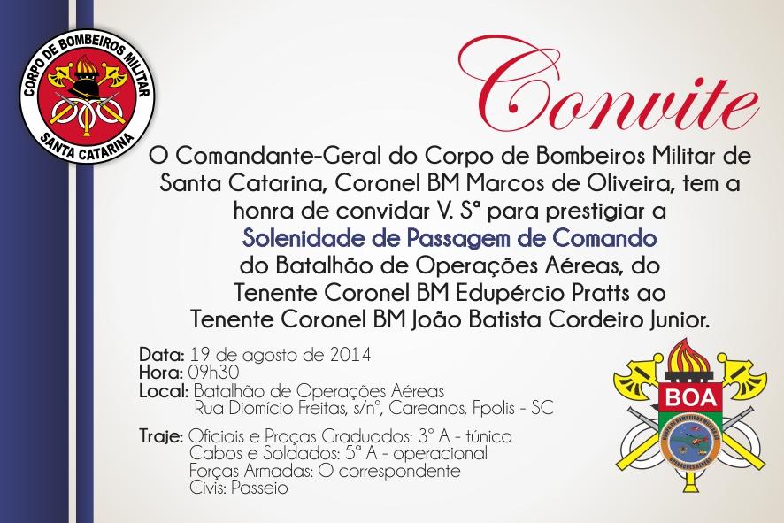 Convite passagem Cmdo BOA_CBMSC