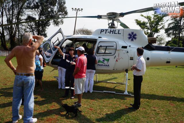Bebê rondonense é transferido pelo helicóptero do SAMU para Cascavel/PR
