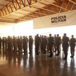 Foto: Tropa formada para a solenidade em comemoração ao dia do Policial Militar Aviador.