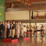 Foto: O Ten Cel Ledwan Salgado Cotta acompanhado das autoridade no palanque durante o hino nacional Brasileiro