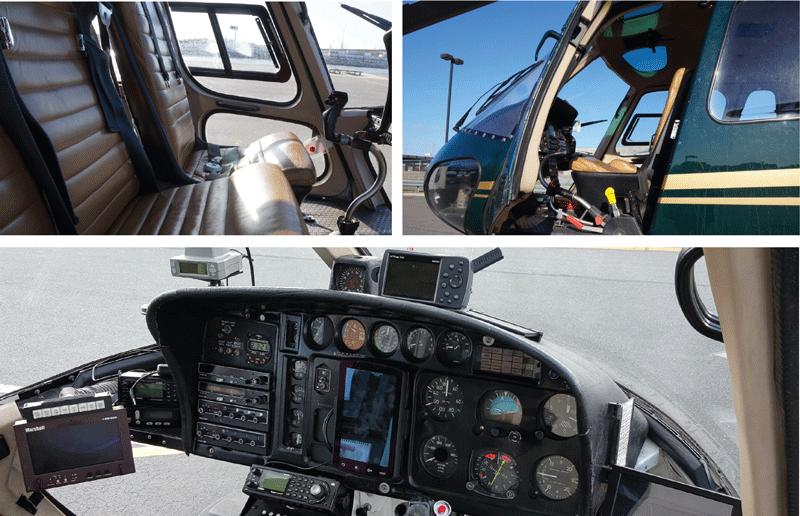 (Acima: à esquerda e à direita) As características do AStar fazem-no popular entre vários tipos de operadoras de aeronaves. A operadora de viagem Liberty Helicopters gosta da opção da aeronave para condução à esquerda que mantém o manete de aceleração e os controles coletivos longe de interferências inadvertidas, como das alças das câmeras dos turistas. Foto: Liberty Helicopters/ John Romano. (Abaixo) A configuração do AStar também é adequada para a coleta eletrônica de notícias. Foto: Roy Taylor