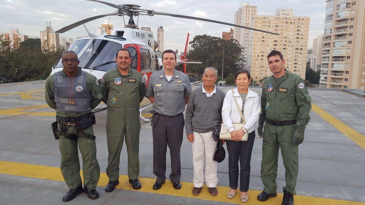 Equipe do Águia 20: Capitão PM Mena Barreto, Capitão PM Silva Costa e Cabo PM Neves.