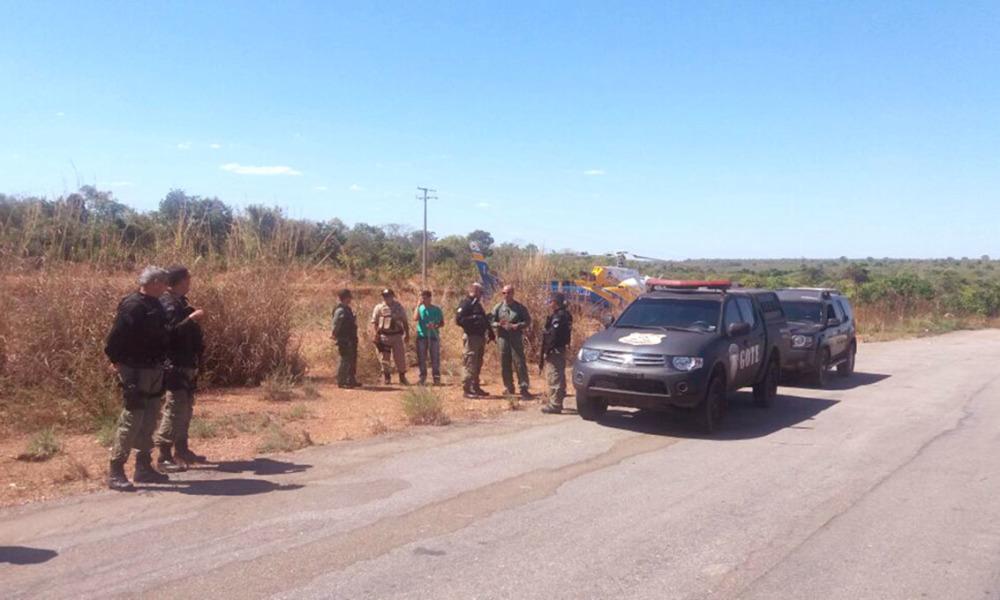 A operação policial na fronteira Tocantins/Goiás conta com o apoio do helicóptero do Centro Integrado de Operações Aéreas da SSP/TO - Segurança Pública / Governo do Tocantins