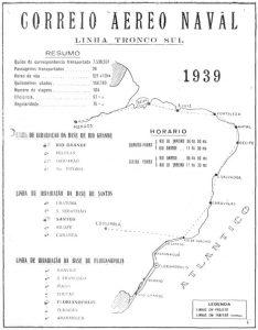 Rotas operadas pelo Correio Aéreo da Marinha em 1939. (Marinha do Brasil via naval.com.br)