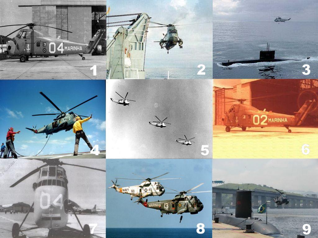 Aeronaves operadas pelo HS-1 ao longo de sua história (Foto 1, ComForAerNav via naval.com.br; Fotos 2, 3, 4, 5, 8 e 9, Marinha do Brasil; Fotos: 6 e 7, SDGM via naval.com.br)