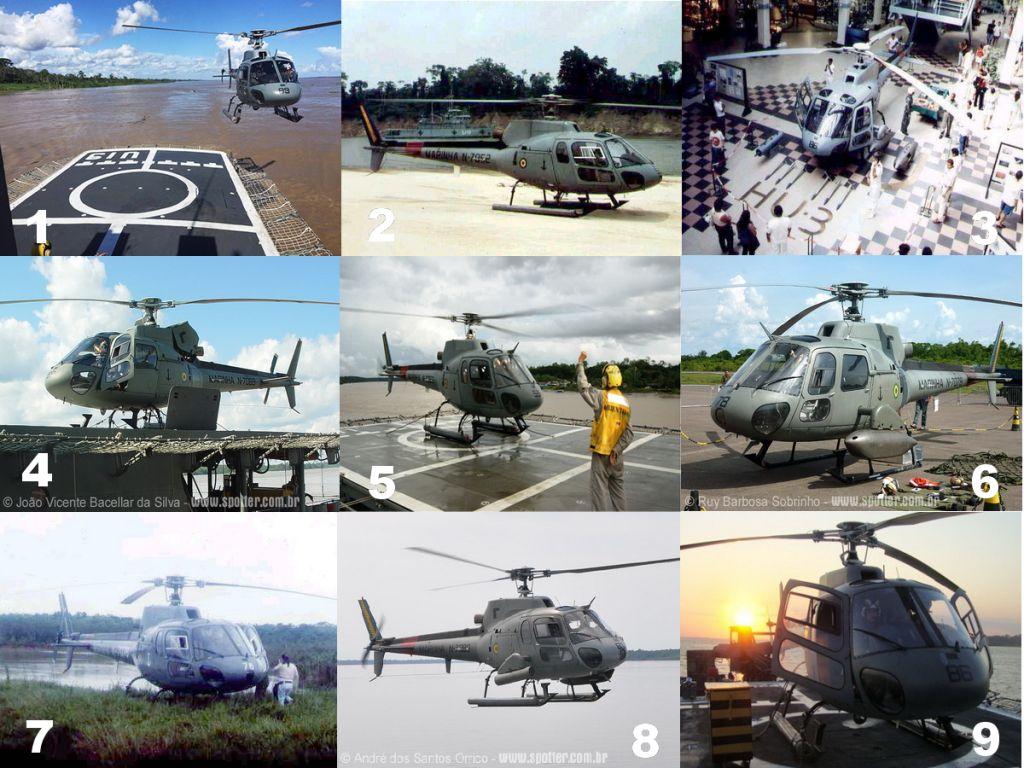 O HU-3 emprega em suas missões, aeronaves UH-12 Esquilo. (Foto 1, MB/CC Heluy via defesaaereanaval.com.br; Fotos 2, 3, 7 e 9, MB via naval.com.br; Foto 4, João V. B. da Silva via spotter.com.br; Foto 5, MB via defesaaereanaval.com.br; Foto 6, Ruy B. Sobrinho via spotter.com.br; Foto 8, André dos Santos Orrico via spotter.com.br)