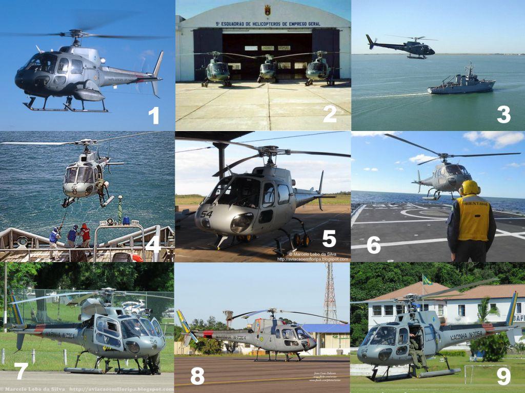 O Esquadrão HU-5 utiliza em suas missões, o UH-12 Esquilo. (Fotos 1, 4 e 6, MB via defesaaereanaval.com.br; Foto 2, MB via naval.com.br; Foto 3, Marinha do Brasil; Fotos 5, 7 e 9, blog Aviação em Floripa; Foto 8, Jones C. Dalazen)