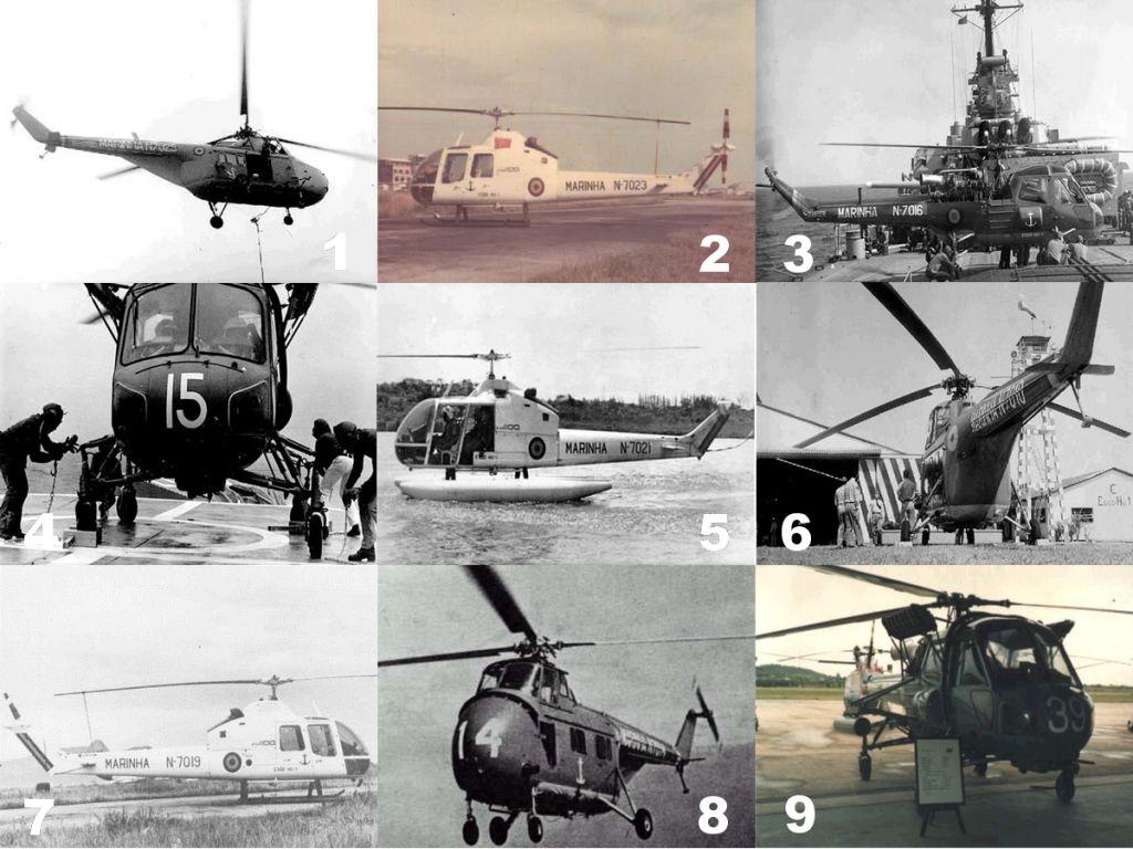 Alguns dos modelos de helicópteros operados pela HU-1 ao longo de sua história. (Fotos 1, 3, 4, 5 e 6, ComForAerNav; Foto 2, Museu Aerospacial via naval.com.br; Foto 7, Francisco C. P. Neto via naval.com.br; Foto 8, SDGM via naval.com.br; Foto 9, Marinha do Brasil)
