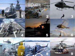 Na atualidade o Esquadrão HU-1 executa suas variadas missões com as versões monomotor (UH-12) e bimotor (UH-13) do Helibras Esquilo. (Fotos 1, 2, 3, 4 e 7, HU-1; Fotos 5 e 6, ComForAerNav; Foto 8, G. Poggio via naval.com.br; Foto 9, Marinha do Brasil via naval.com.br)
