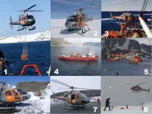 Uma das atribuições mais importantes do Esquadrão HU-1 é o apoio ao Programa Antártico Brasileiro - PROANTAR. (Foto 1, Marinha do Brasil; Fotos 2, 7 e 8, HU-1; Foto 3, Marinha do Brasil via naval.com.br; Fotos 4 e 6, ComForAerNav; Foto 5, HU-1 via naval.com.br)
