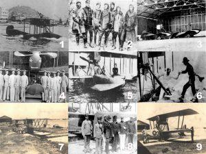 Alguns momentos marcantes e aeronaves utilizadas pela Aviação Naval em sua fase inicial. (Fotos 1 e 2, SDM via naval.com.br; Fotos 3, 4, 5, 6, 7 , 8 e 9, Marinha do Brasil)