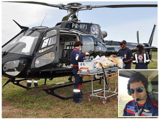 O médico Luiz Alfredo Filho no comando de um dos procedimentos de resgate com sua equipe. No detalhe, o médico já mantendo contato com o pessoal do solo para providenciar o recebimento do paciente. (fotos divulgação)