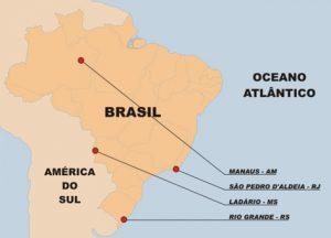 Localização das Unidades da Aviação Naval espalhadas pelo território nacional. (Fonte: naval.com.br)
