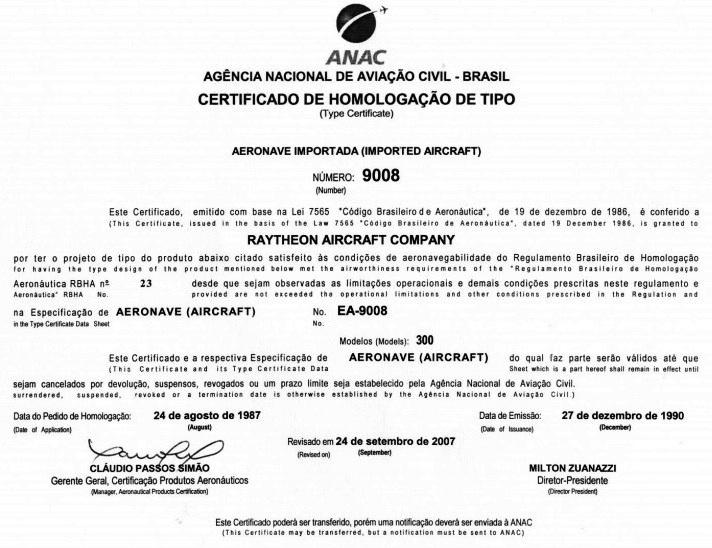 certificado de homologação de tipo - ANAC