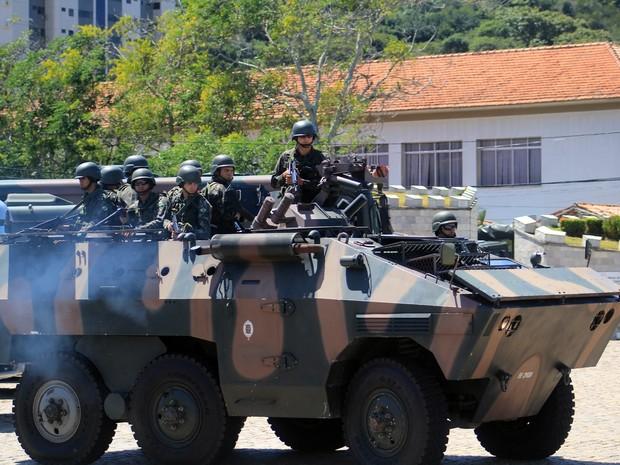 Tropas federais iniciaram a 'Operação Potiguar' em Natal (Foto: Fabiano de Oliveira/ G1)