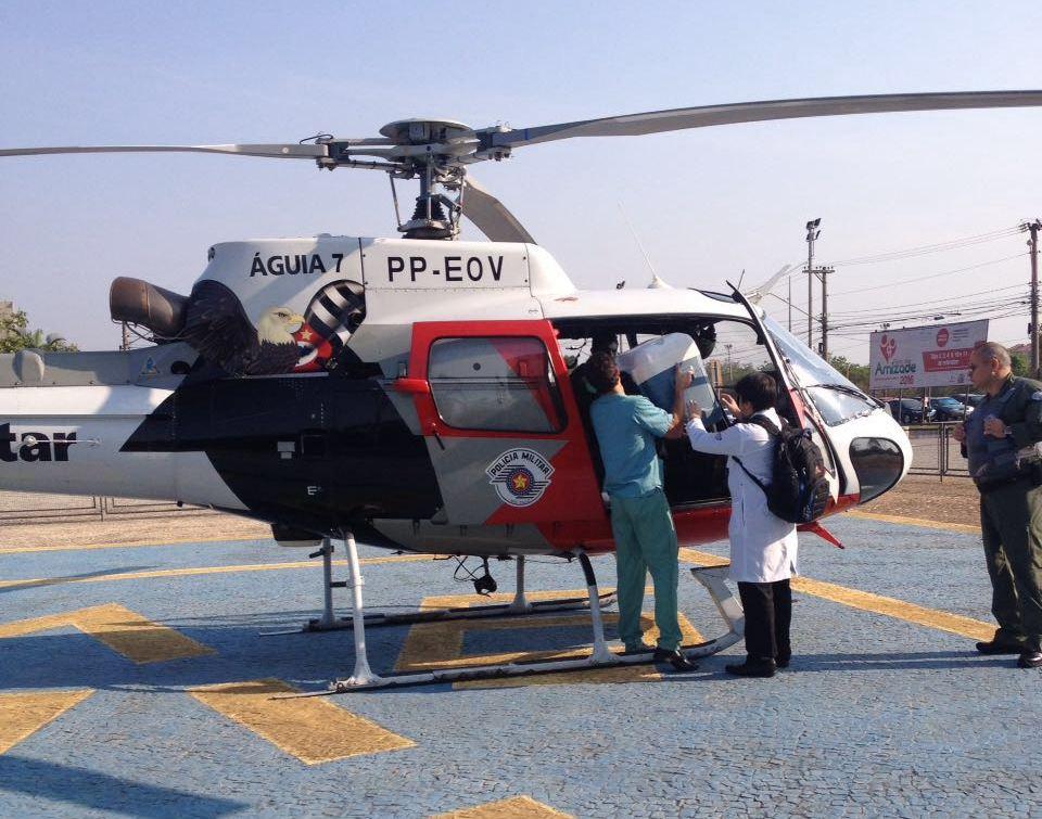 Helicóptero Águia faz transporte de pulmão doado para paciente em SP