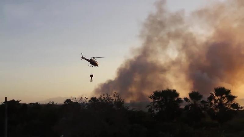 Helicóptero é utilizado para apagar incêndio no Parque do Cocó