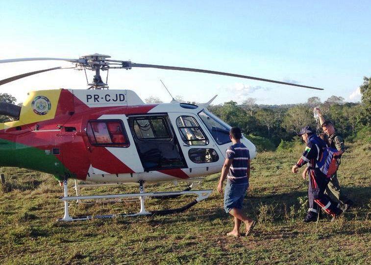 Aeronave leva 40 minutos para resgatar mulher vítima de AVC no Seringal Nova Olinda, próximo de Sena Madureira (Foto: Cedida)