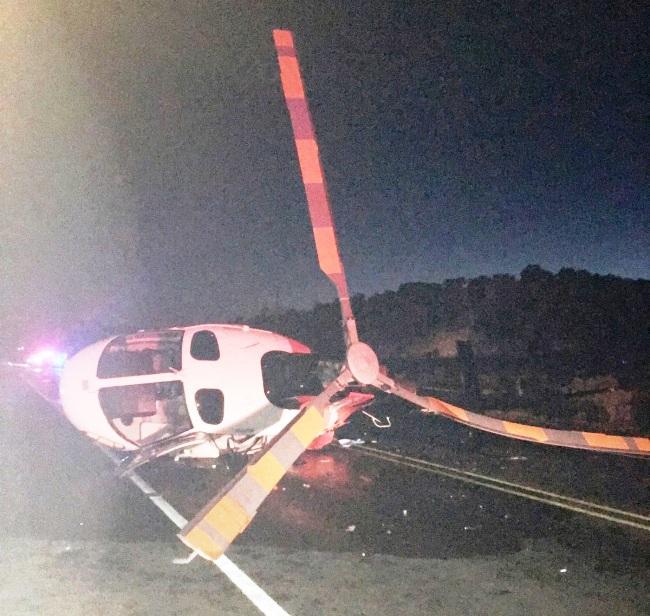 Motorista bêbado invade pista e bate em helicóptero de resgate que prestava socorro