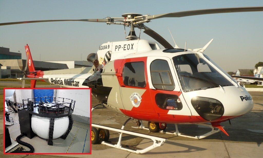 Helicóptero e simulador do AS350