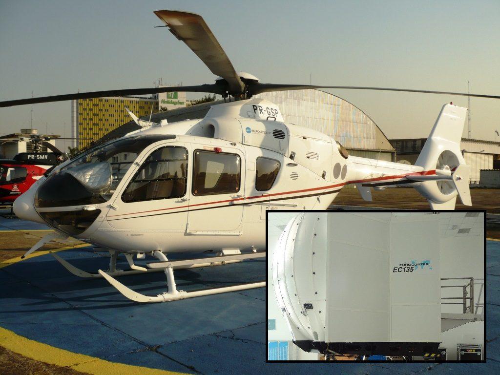Helicóptero e simulador do EC135