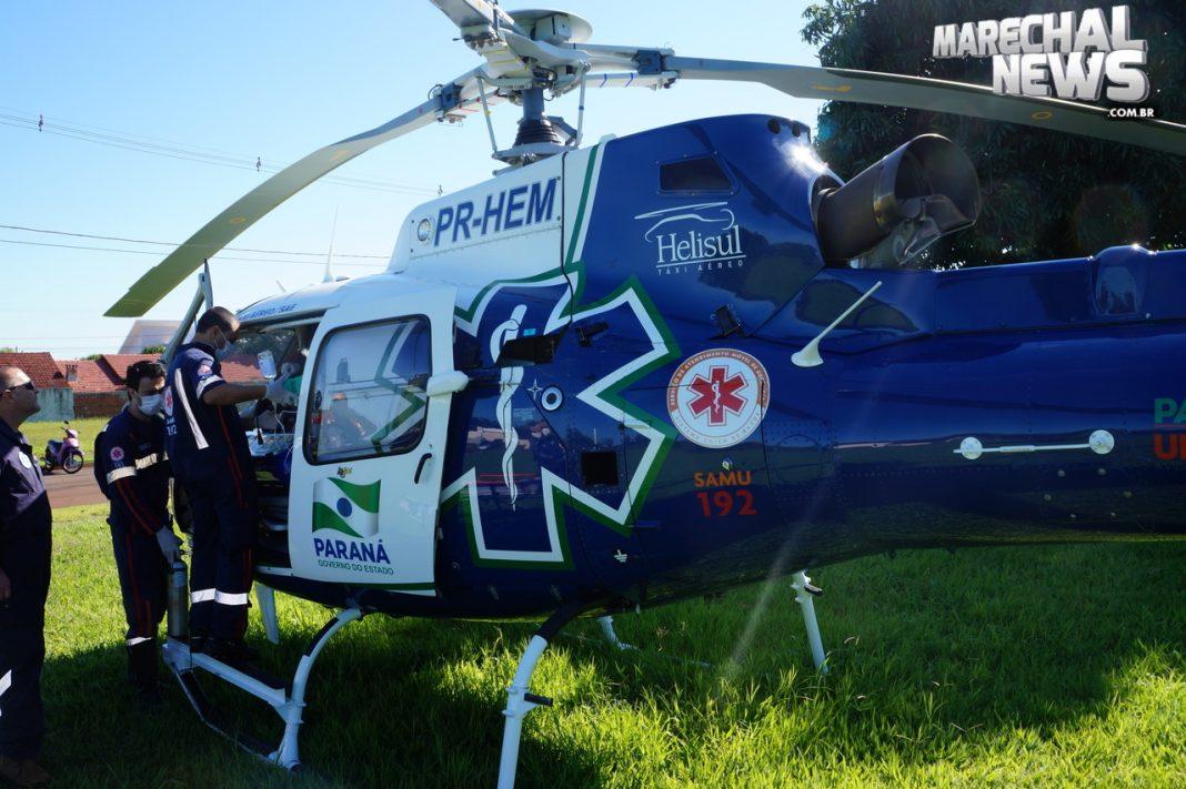 Bebê recém nascida é transferida pelo helicóptero do SAMU/PR