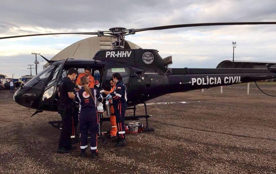 Paciente com queimadura grave é transportado de helicóptero até Campos Novos
