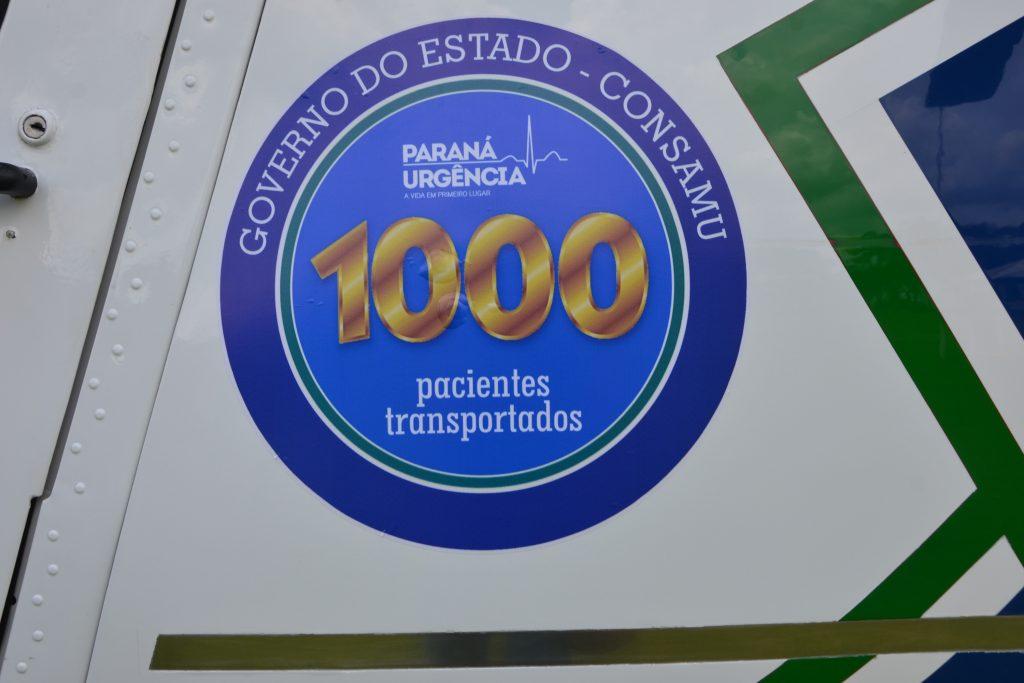 Helicóptero da Rede Paraná Urgência faz voo número 1000