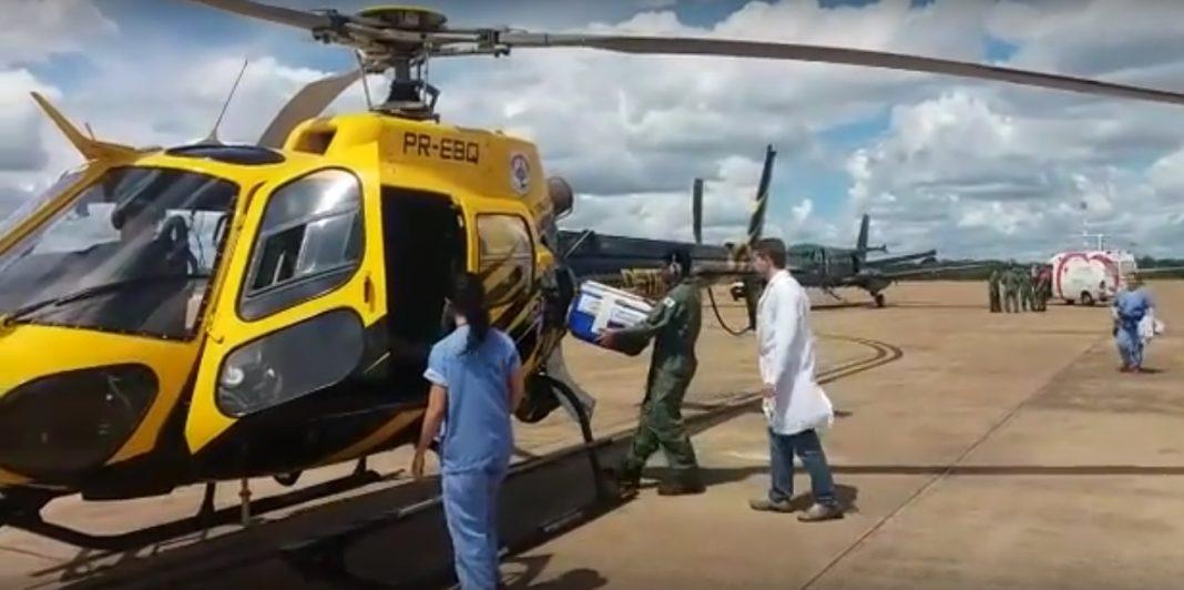Coração chega ao DF e é transportado por helicóptero do Detran
