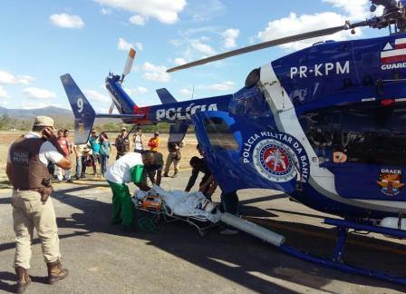 EC145 da PMBA realizando resgate aeromédico.