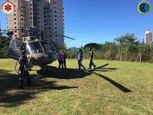 Águia 04 realiza transporte aeromédico de criança para Hospital Infantil, em Florianópolis